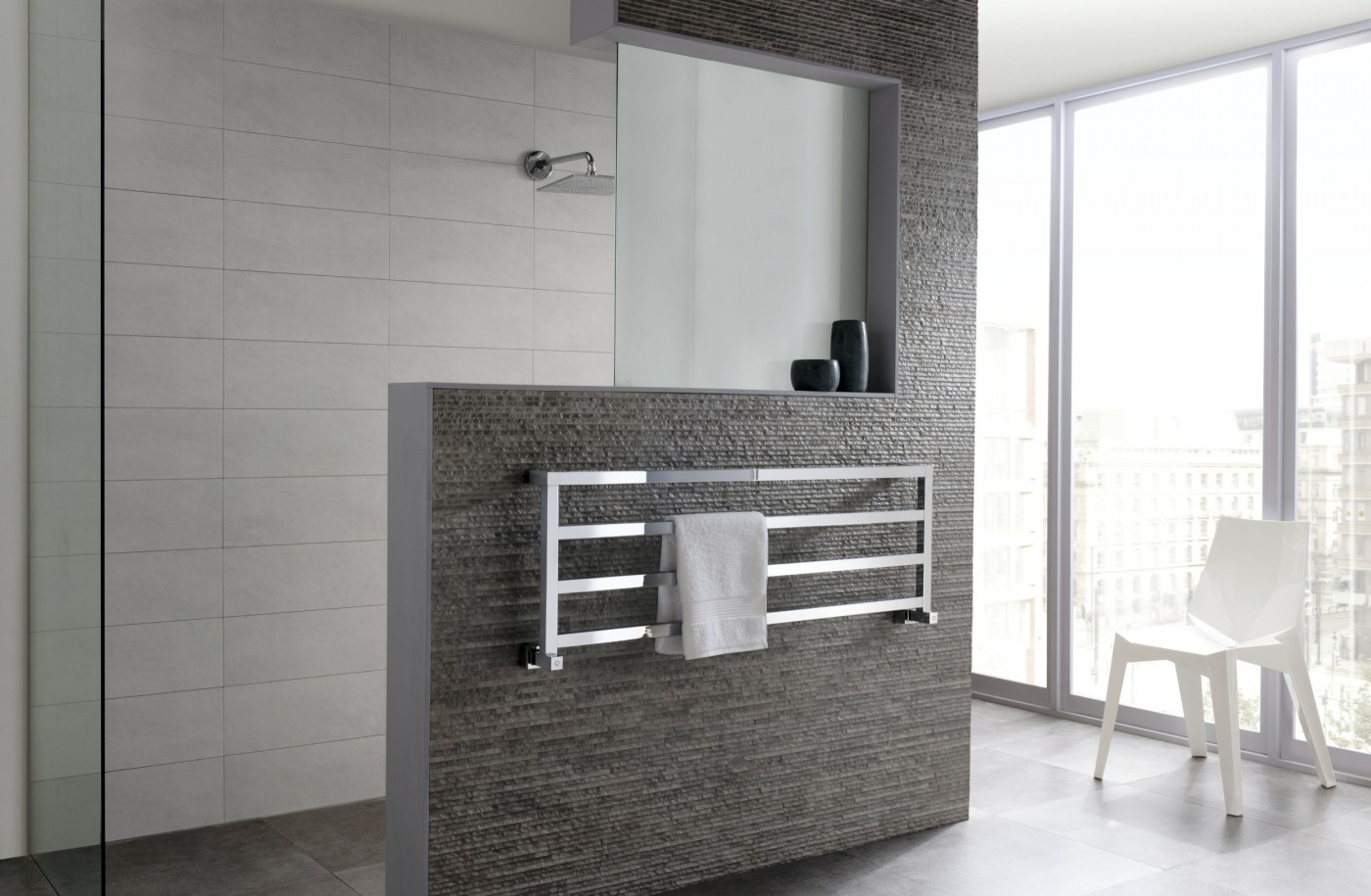 Brushed Chrome Bathroom Radiators: ICONIC • Designer Radiators • Panorama Towel Rail