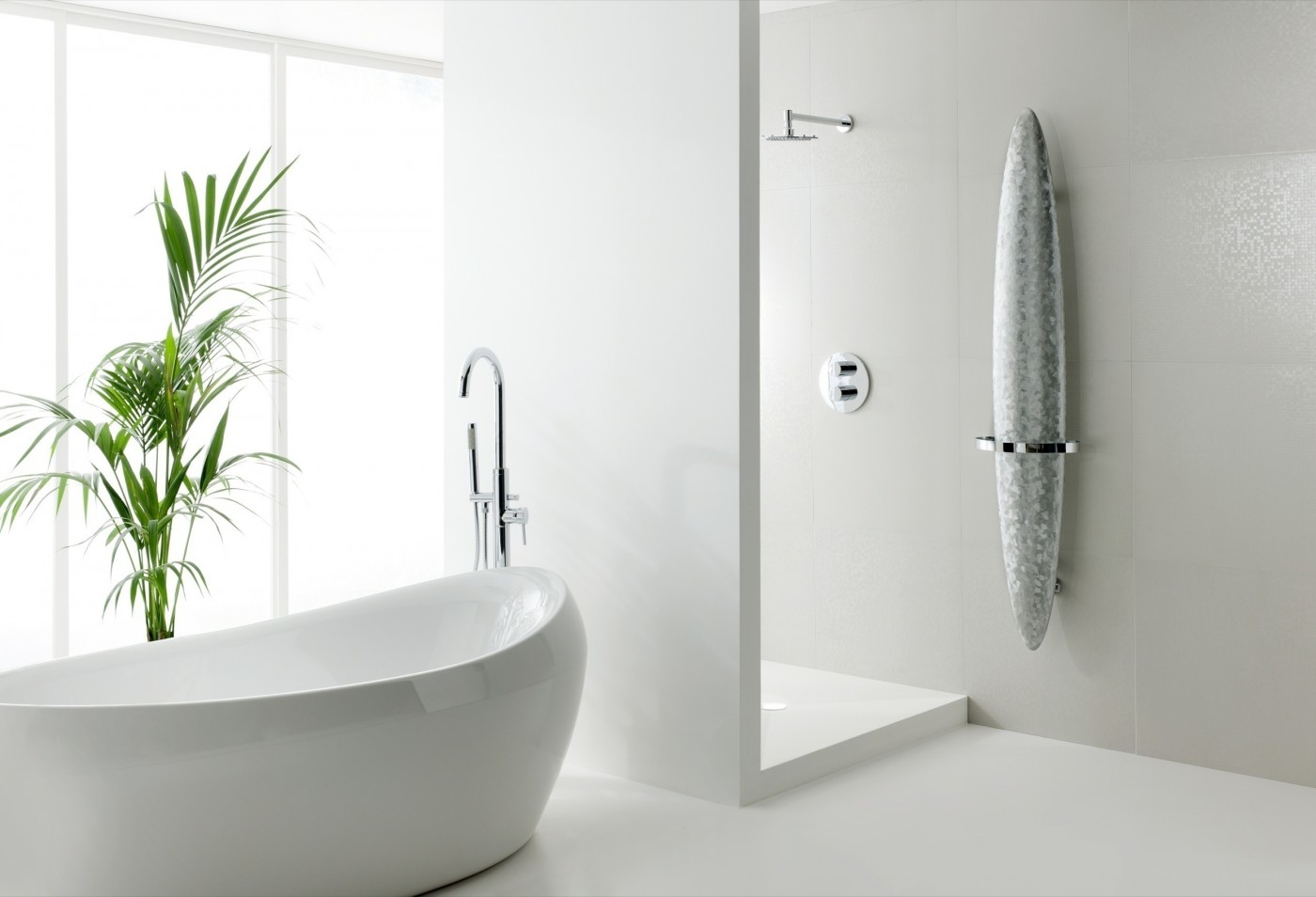 Brushed Chrome Bathroom Radiators: ICONIC • Designer Radiators • Blade Towel Rail